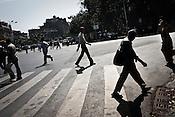 Padestrians are seen walking the streets of Mumbai, India. Photograph: Sanjit Das