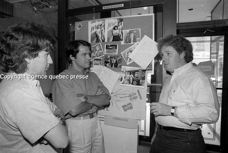 Pierre Marchand (L) and Pierre Parent (M) welcome Jean Charest to his interview with Sonia Benezra at Musqiue Plus, June 26, 1987