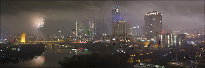 On a foggy, rainy New Year's Eve, revelers were treated to a wonderful fireworks show in Austin, Texas. From the 1st Street Bridge and Congress Bridge, as well as from Auditorium Shores and many other locations, folks watched the fireworks explode in the foggy evening, lighting up the Austin skyline for miles.
