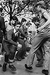 Teenagers Kings Road Chelsea London Uk 1977. Saturday afternoon in the Kings Road Chelsea, impromptu jive by young Teddy Boys who have gathered outside the Boy boutique.