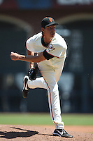 SAN FRANCISCO - MAY 16:  Randy Johnson of the San Francisco Giants pitches during the game against the New York Mets at AT&T Park in San Francisco, California on Saturday, May 16, 2009. Photo by Brad Mangin