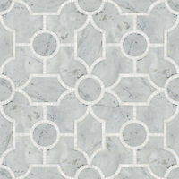 Chatham 2, a natural stone waterjet mosaic shown in polished Calacatta Tia, is part of the Silk Road Collection by Sara Baldwin for New Ravenna Mosaics. <br />
