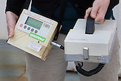'UMO 110' Contamination monitor- can detect contamination, but no dose levels...Radiation detection and measuring equipment on the Greenpeace ship Rainbow Warrior, as it sails to Fukushima in Japan, on Tuesday 26th April 2011.
