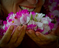 Fresh leis made with Hawaiian orchids