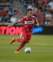 Chicago midfielder Daniel Paladini (11) makes a move with the ball.  The Portland Timbers defeated the Chicago Fire 1-0 at Toyota Park in Bridgeview, IL on July 16, 2011.