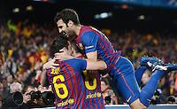 FUSSBALL   CHAMPIONS LEAGUE SAISON 2011/2012   HALBFINALE   RUECKSPIEL        FC Barcelona - FC Chelsea       24.04.2012 Jubel nach dem 0:1: Xavi Hernandez, Andres Iniesta und Cesc Fabregas (v.l., alle Barca)