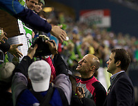 Seattle Sounders FC goalkeeper Kasey Keller greets fans after play against the San Jose Earthquakes at CenturyLink Field in Seattle Saturday October 15, 2011. The Sounders FC won the game 2-1. The game was Keller's last regular season home game.