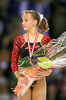 Oct 19, 2006; Aarhus, Denmark;  Sandra Izbasa of Romania celebrates her bronze medal win in ALL-Around final at 2006 World Championships Artistic Gymnastics.<br />