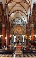 Low angle view of interior of the Duomo, or Cattedrale di Verona, S. Maria Assunta, 12th century, Verona, Italy. The cathedral was built in 1117-38, but the interior was remodeled in the 15th and 16th centuries, in Gothic style, with three aisles divided by tall, broad arches. Picture by Manuel Cohen.