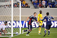 Justin Braun (17) of CD Chivas USA celebrates scoring the game winning goal. CD Chivas USA defeated the New York Red Bulls 3-2 during a Major League Soccer (MLS) match at Red Bull Arena in Harrison, NJ, on May 15, 2011.