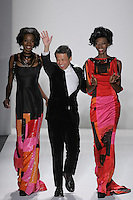 Fashion Designer Zang Toi, walks runway with models for the close of his Zang Toi Fall 2012 &quot;Glamour At Gstaad&quot; collection fashion show, during Mercedes-Benz Fashion Week New York Fall 2012 at Lincoln Center.