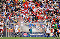New York Red Bulls fans celebrate after the team's secod goal. The New York Red Bulls defeated Juventus F. C. 3-1 during a friendly at Red Bull Arena in Harrison, NJ, on May 23, 2010.