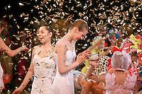 "Deriugina School gymnasts of Ukraine celebrate finish of gala exhibition after 2007 World Cup Kiev, ""Deriugina Cup"" in Kiev, Ukraine on March 18, 2007. Visible is (L) Viktoria Antonova...with others."