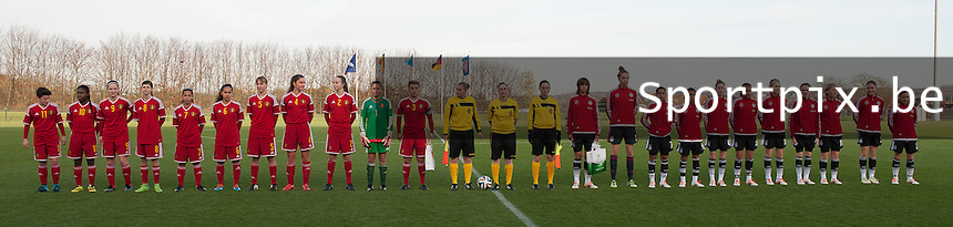 20151128 - Tubize , Belgium : teams of Belgium and Germany pictured during the female soccer match between Women under 16 teams of  Belgium and Germany , in Tubize . Saturday 28th November 2015 . PHOTO DIRK VUYLSTEKE