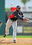 6 March 2011: Atlanta Braves' pitcher Cristhian Martinez on the mound during a Spring Training game against the Washington Nationals at Space Coast Stadium in Viera, Florida. The Braves shut out the Nationals 5-0 in Grapefruit League action. Mandatory Credit: Ed Wolfstein Photo