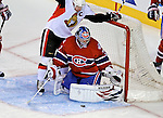 11 November 2008:  Montreal Canadiens' goaltender Carey Price makes a save in the third period against the Ottawa Senators at the Bell Centre in Montreal, Quebec, Canada. The Canadiens defeated the visiting Senators 4-0 with Price earning his first shut-out of the season. ***Editorial Sales Only***..Mandatory Photo Credit: Ed Wolfstein Photo *** Editorial Sales through Icon Sports Media *** www.iconsportsmedia.com