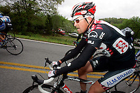 Allan Johansen of Team CSC rides in the peloton during Stage 5 of the Ford Tour de Georgia. Tom Danielson, of the Discovery Channel Pro Cycling Team, won the 94.5-mile (152.1-km) stage from Blairsville to the top of Brasstown Bald, the highest point in the state. Johansen finished 21st.<br />