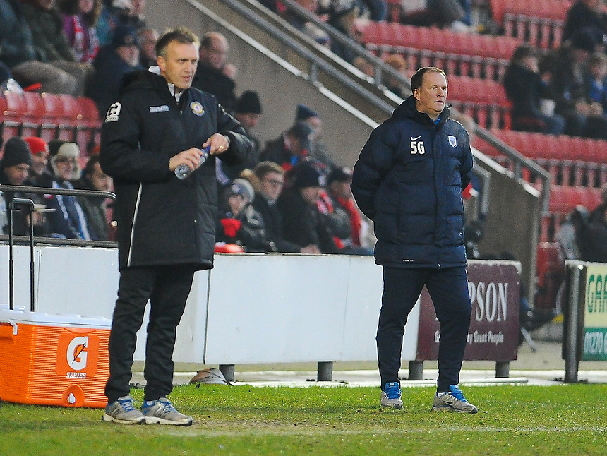 Crewe Alexandra manager Steve Davis and Preston North End manager Simon Grayson prowling the technical areas during todays game<br /> <br /> Photographer Craig Thomas/CameraSport<br /> <br /> Football - The Football League Sky Bet League One - Crewe Alexandra v Preston North End - Sunday 28th December 2014 - Alexandra Stadium - Crewe<br /> <br /> &copy; CameraSport - 43 Linden Ave. Countesthorpe. Leicester. England. LE8 5PG - Tel: +44 (0) 116 277 4147 - admin@camerasport.com - www.camerasport.com