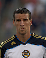 Philadelphia Union forward Sebastien Le Toux (9). In a Major League Soccer (MLS) match, the Philadelphia Union defeated the New England Revolution, 3-0, at Gillette Stadium on July 17, 2011.