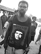 'Superhero' T-shirt fashion, near Kimbe, West New Britain Island, Papua New Guinea, Wednesday 24th September 2008.