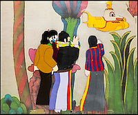 BNPS.co.uk (01202 558833)<br /> Pic: HeritageAuctions/BNPS<br /> <br /> ***Please use full byline***<br /> <br /> Original cartoon acetate of the Fab Four in Pepperland.<br /> <br /> All aboard - A psychedelic snapshot of the swinging sixties is coming up for auction...<br /> <br /> An amazing archive of the original cartoons from the Beatles' surreal animation film Yellow Submarine has emerged for sale for &pound;125,000.<br /> <br /> The collection boasts hand-painted scenes from the iconic 1968 adventure in which the Fab Four travel in the Yellow Submarine to Pepperland to save it from the Blue Meanies.<br /> <br /> Experts have tipped the 80 drawings, each measuring 13.75ins by 10ins, to fetch &pound;125,000 when they go under the hammer in individual lots at Heritage Auctions in Beverly Hills, California.