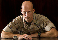Command Sgt. Major Jeffrey Morin, the CENTCOM Senior Enlisted Adviser comes to Army Times offices for an editorial board interview. Wednesday, August, 1, 2007. (James J. Lee / Times Staff).
