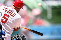 05/06/12 Anaheim, CA:  Los Angeles Angels first baseman Albert Pujols #5 during an MLB game against the Toronto Blue Jays played at Angel stadium. The Angels defeated the Blue Jays 4-3