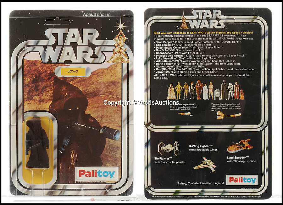 BNPS.co.uk (01202 558833)<br /> Pic: Vectis/BNPS<br /> <br /> Palitoy Star Wars Jawa 3 3/4&quot; Vintage Figure sold for &pound;1,680.<br /> <br /> A tiny plastic rocket from a Star Wars action figure has sold for almost &pound;2,000 as part of a huge &pound;160,000 sale of rare toys relating to the film franchise.<br /> <br /> The red missile measures just 28mm long and was attached to the back of a prototype figure of bounty hunter Boba Fett.<br /> <br /> A complete prototype Boba Fett can sell for &pound;13,000 but thanks to a letter of authentication and grading by the Action Figure Authority (AFA), the small rocket made &pound;1,920 by itself at auction.<br /> <br /> It was one of almost 700 Star Wars lots that sold for &pound;160,000, with many toys that originally sold for &pound;1.50 achieving four-figure sums.<br /> <br /> With the release of Star Wars:The Force Awakens imminent, interest in memorabilia from the franchise has never been higher.