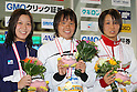 (L to R) .Mika Ikeda, .Shiho Sakai, .Ema Kobayashi, .FEBRUARY 11, 2012 - Swimming : .The 53rd Japan Swimming Championships (25m) .Women's 50m Backstroke Victory Ceremony .at Tatsumi International Swimming Pool, Tokyo, Japan. .(Photo by YUTAKA/AFLO SPORT) [1040]