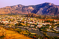 Dalyan River and the town of Dalyan, Turkey