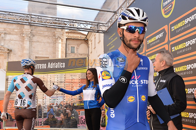 Fernando Gaviria (COL) Quick-Step Floors at sign on before the start of Stage 6 of the 2017 Tirreno Adriatico running 168km from Ascoli Piceno to Civitanova Marche, Italy. 13th March 2017.<br />