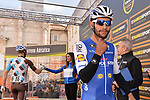 Fernando Gaviria (COL) Quick-Step Floors at sign on before the start of Stage 6 of the 2017 Tirreno Adriatico running 168km from Ascoli Piceno to Civitanova Marche, Italy. 13th March 2017.<br /> Picture: La Presse/Gian Mattia D'Alberto | Cyclefile<br /> <br /> <br /> All photos usage must carry mandatory copyright credit (&copy; Cyclefile | La Presse)