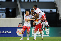 Seth Stammler (6) of the New York Red Bulls celebrates scoring with Joel Lindpere (20), Roy Miller (7), and Danleigh Borman (11) during a Major League Soccer (MLS) match against Chivas USA at Red Bull Arena in Harrison, NJ, on June 5, 2010.