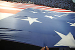 The flag during the National Anthem at Vaught-Hemingway Stadium in Oxford, Miss. on Saturday, September 1, 2012.