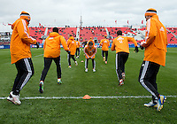 20 April 2013: Players of the the Houston Dynamo warm-up during an MLS game between the Houston Dynamo and Toronto FC at BMO Field in Toronto, Ontario Canada..The game ended in a 1-1 draw...