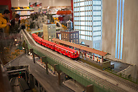 Visitors to the New York City Transit Museum in Grand Central Terminal in New York on Wednesday, November 28, 2013 enjoy the annual Christmas model railroad exhibit.  (© Richard B. Levine)