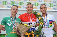 INLINESKATEN: HALLUM: 07-09-2013, KPN Dutch Open Inline 100km, Ingmar Berga (2) - winnaar Gary Hekman - Crispijn Ariëns (3), ©foto Martin de Jong