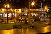 Peru, Cusco.  Plaza de Armas at Night.