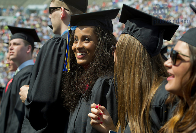 May 19, 2013; Skylar Diggins celebrates during the 2013 Commencement ceremony in Notre Dame Stadium. Photo by Barbara Johnston/University of Notre Dame