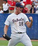 Mississippi pitcher Stephen Head celebrates the final out against Texas during NCAA Super Regional game 1 action at Oxford-University Stadium in Oxford, Miss. Sunday, June 12, 2005. Mississippi won 6-4. (AP Photo/Bruce Newman,Oxford Eagle)