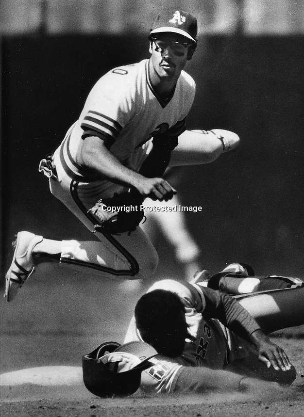 A's shortstop Rob Picciolo double play. .(1980 photo by Ron Riesterer)