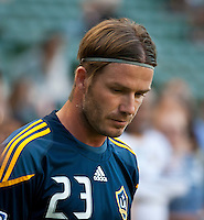 CARSON, CA – August 20, 2011: LA Galaxy midfielder David Beckham (23) prior to the match between LA Galaxy and San Jose Earthquakes at the Home Depot Center in Carson, California. Final score LA Galaxy 2, San Jose Earthquakes 0.