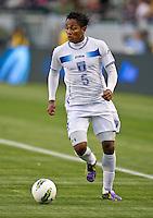 CARSON, CA - March 23, 2012: Ever Alvarado (5) of Honduras during the Honduras vs Panama match at the Home Depot Center in Carson, California. Final score Honduras 3, Panama 1.