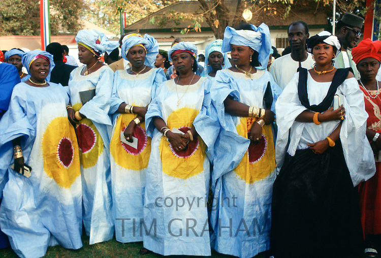 Gambian women smartly dressed while atttending an Independence Day reception at the State House in Banjul, The Gambia, West Africa.