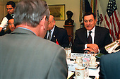 Washington, DC - March 5, 2002 -- Egyptian President Hosni Mubarak meets with U.S. Secretary of Defense Donald H. Rumsfeld in the Pentagon on March 5, 2002.  Mubarak and Rumsfeld are discussing the war on terrorism, the Israeli-Palestinian conflict and other regional security issues..Mandatory Credit: Robert D. Ward / DoD via CNP