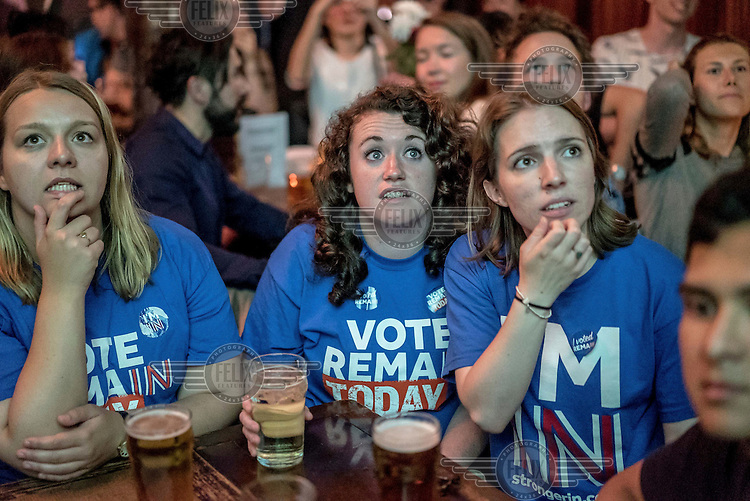 Remain (in the EU) supporters at a referendum results party at the Lexington Pub in north London.