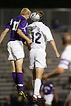 Western Illinois's Luke Greenwell (17) challenges Duke's Chris Loftus (12) for a header on Tuesday, October 11th, 2005 at Duke University's Koskinen Stadium in Durham, North Carolina. The Duke University Blue Devils defeated the Western Illinois Leathernecks 2-0 during an NCAA Division I Men's Soccer game.