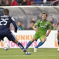Seattle Sounders forward Mike Fucito (2) passes the ball. In a Major League Soccer (MLS) match, the Seattle Sounders FC defeated the New England Revolution, 2-1, at Gillette Stadium on October 1, 2011.