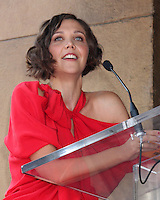 LOS ANGELES - AUGUST 5:  Maggie Gyllenhaal at the Hollywood Walk of Fame Ceremony for Emma Thompson at Hollywood Walk of Fame on August 5, 2010 in Los Angeles, CA