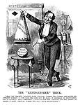 """The """"Extinguisher"""" Trick. """"Here you perceive 'fugitive slave circular' number two—number one having disappeared already! I now take this cone into my hand;—it resembles an extinguisher, and is called a 'royal commission.' I place it over the 'circular,' and—hey, presto!—on raising it again, 'circular' number two will have disappeared!"""""""